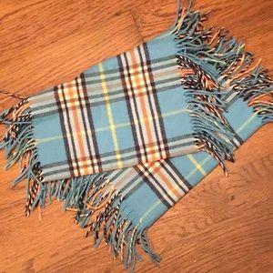 Blue plaid cashmere-like winter scarf